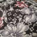 Отрез ткани серые и розовые цветы на чёрном фоне   80 см на  400 см