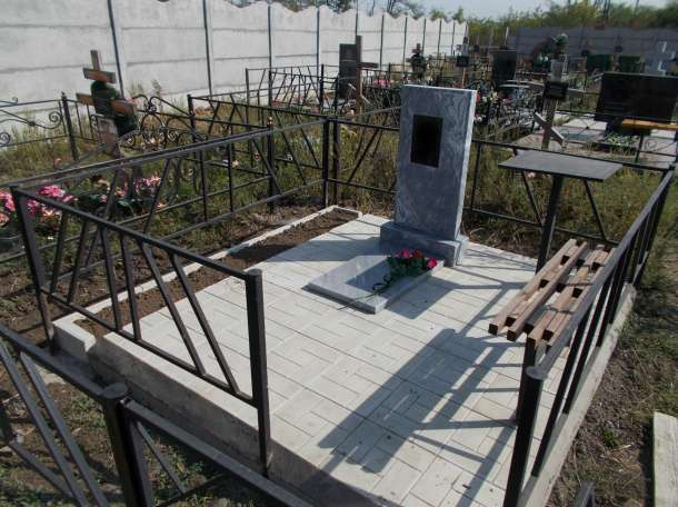 На кладбище установка памятник плитка бетон ремонт, фотография 4