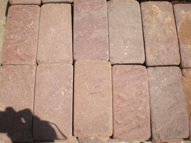 Натуральный камень Красный песчаник пиленый + галтованный (плитка), фотография 1