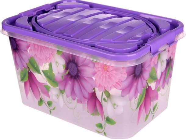 Крепкий 7-литровый пластиковый контейнер на зажимах, фотография 1