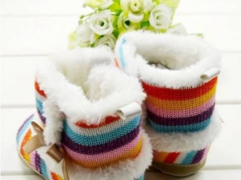 Вязаные сапожки с мехом (пинетки), фотография 4
