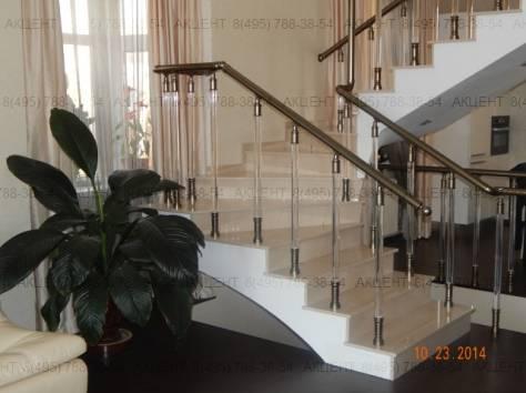 Перила стеклянные, прозрачные и алюминиевые, фотография 1