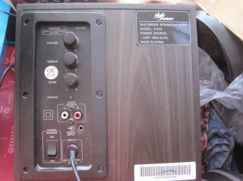 Акустическая система с сабвуфером E - 510.  Три предмета.  Одна большая колонка с сабвуфером размером 21 х 21 х 23 см (б, фотография 7