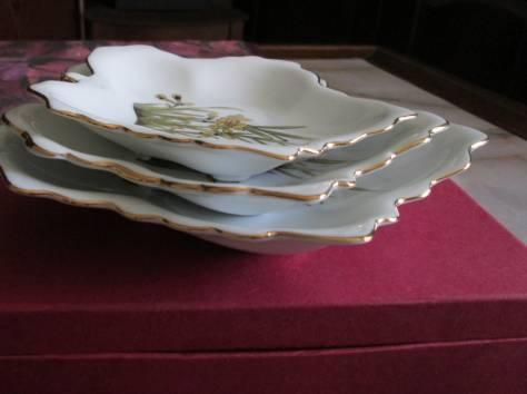 Набор ослепительно красивых керамических салатников «Листья». Китай., фотография 4