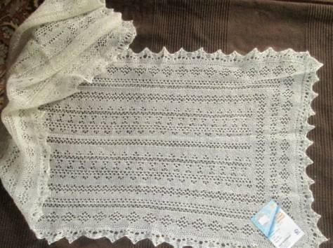 Оренбургский пуховый шарф белый, фабричный, фотография 1