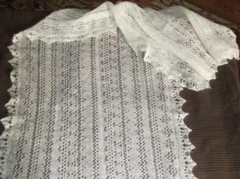 Оренбургский пуховый шарф белый, фабричный, фотография 3