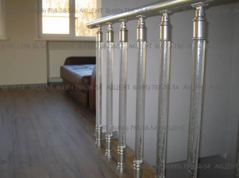 Перила стеклянные, прозрачные и алюминиевые, фотография 2