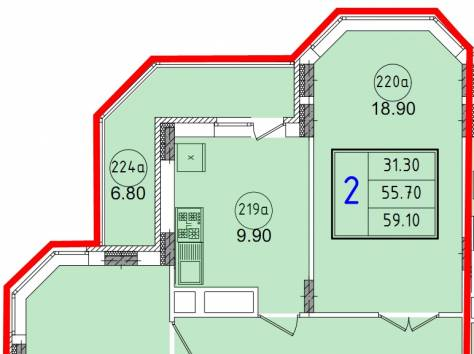 2к.кв новостройка 59.1 м2 в Красноармейске, фотография 1