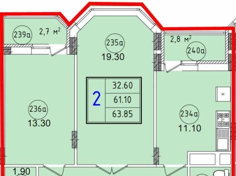 2к.кв новостройка 63,85 м2 в Красноармейске, фотография 1