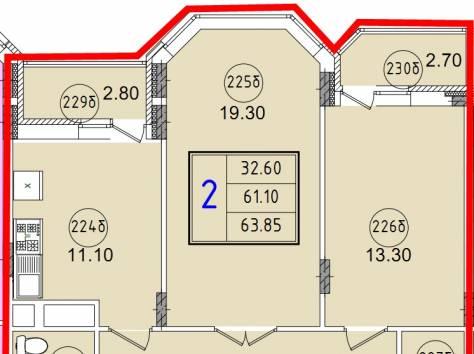 2к.кв новостройка 63,85 м2 в Красноармейске, фотография 2