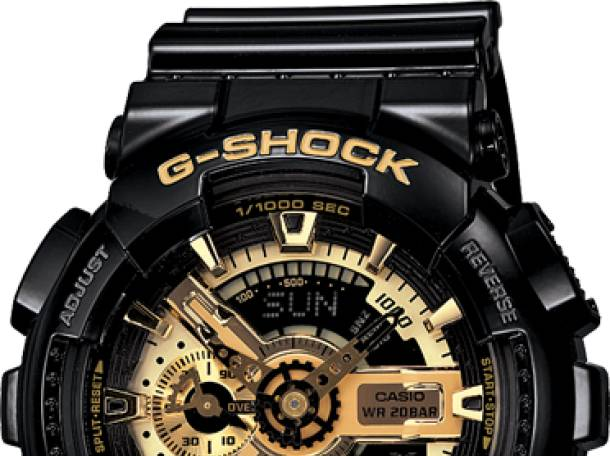Часы G-shock 110RG, черные с золотом , фотография 1