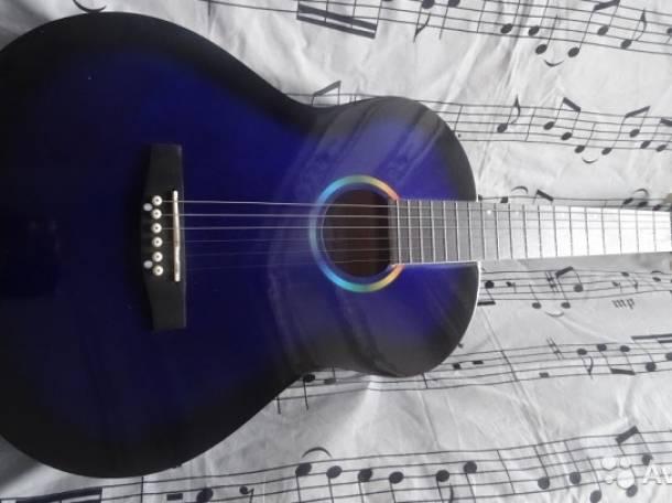 Продаю новую (с упаковкой) синюю акустическую гитару Falcon., фотография 1