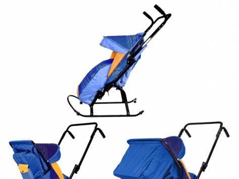 Санки-коляска Скользяшки с 4 колёсиками Герда Скандинавский узор 4Р-3 Овелон, фотография 2