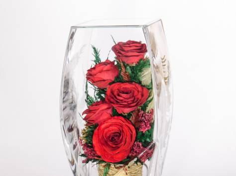 Цветы натуральные в герметичных вазах , доставка, фотография 8