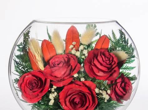 Цветы натуральные в герметичных вазах , доставка, фотография 12