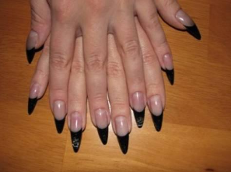 Наращивание френч острые ногти