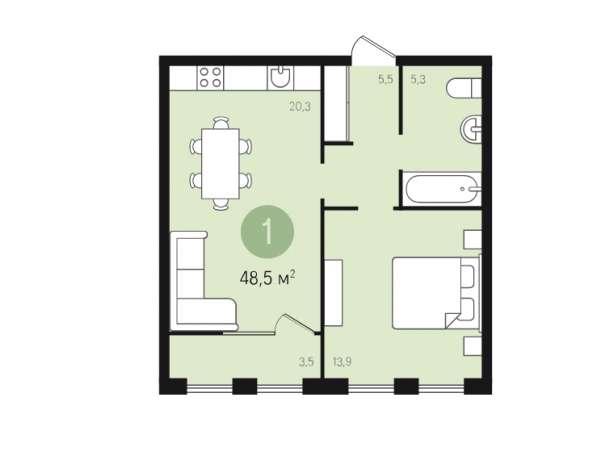 Продаётся замечательная 1С-квартира 48,5 кв.м.(почти двушка кухня-гостиная+комната), фотография 1