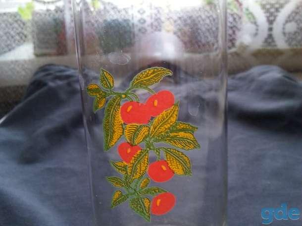 красивые стаканы с рисунком вишня для воды или сока из тонкого стекла комплект из 3 шт, фотография 4
