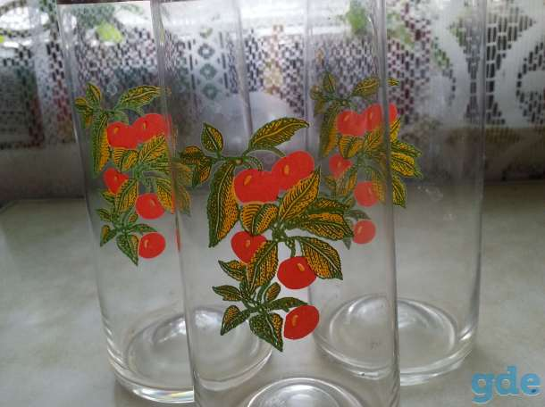 красивые стаканы с рисунком вишня для воды или сока из тонкого стекла комплект из 3 шт, фотография 2