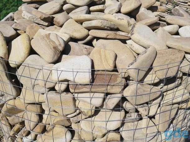 Натуральный камень песчаник галька Цветная, фотография 1