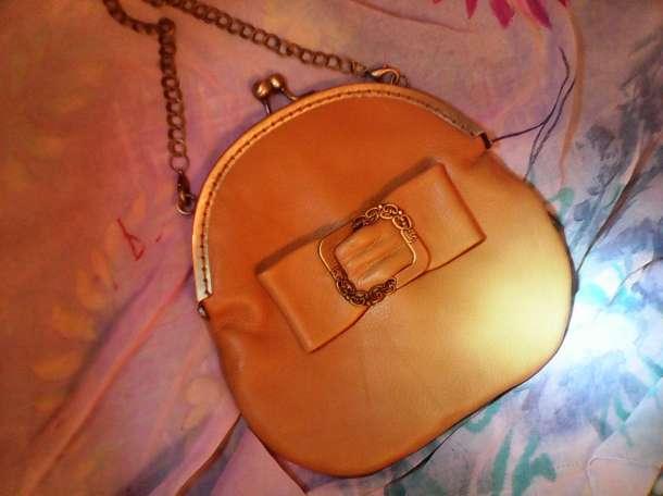 Авторская кожаная сумочка с бантом цвета Охра , фотография 4