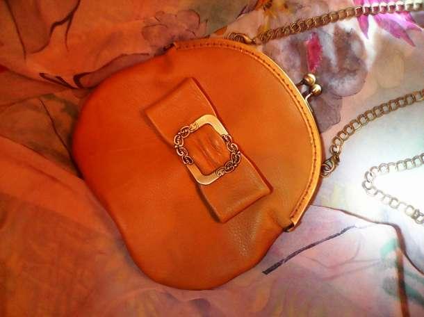 Авторская кожаная сумочка с бантом цвета Охра , фотография 5