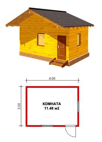 Баня 3х4 из бруса под ключ, проект, цена